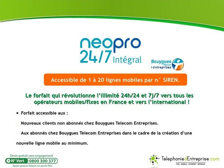 <ul><li>Le forfait qui révolutionne l'illimité 24h/24 et 7j/7 vers tous les opérateurs mobiles/fixes en France et vers l'i...