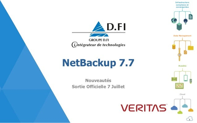 Infrastructure complexes et convergentes Mobilité Cloud Data Management NetBackup 7.7 Nouveautés Sortie Officielle 7 Juill...