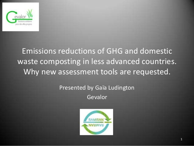 Emissions reductions of GHG and domestic waste composting in less advanced countries. Why new assessment tools are request...