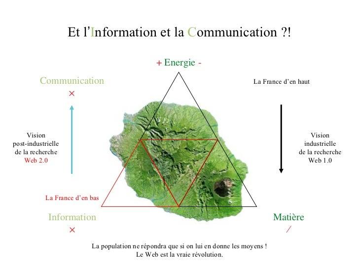 Information  +  Energie  - Matière  Et l ' I nformation et la  C ommunication ?! Communication  La France d 'en bas La ...