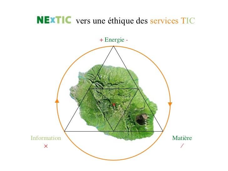 Information  +  Energie  - Matière  : vers une éthique des  services   T IC Communication 