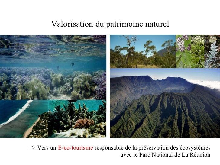 Valorisation du patrimoine naturel => Vers un  E-co-tourisme  responsable de la préservation des écosystèmes avec le Parc ...