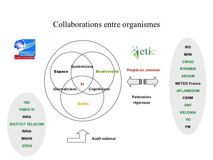 Collaborations entre organismes Espace Biodiversité Systémiciens SI Cogniticiens Géomaticiens Outils IRD MHN CIRAD IFREMER...