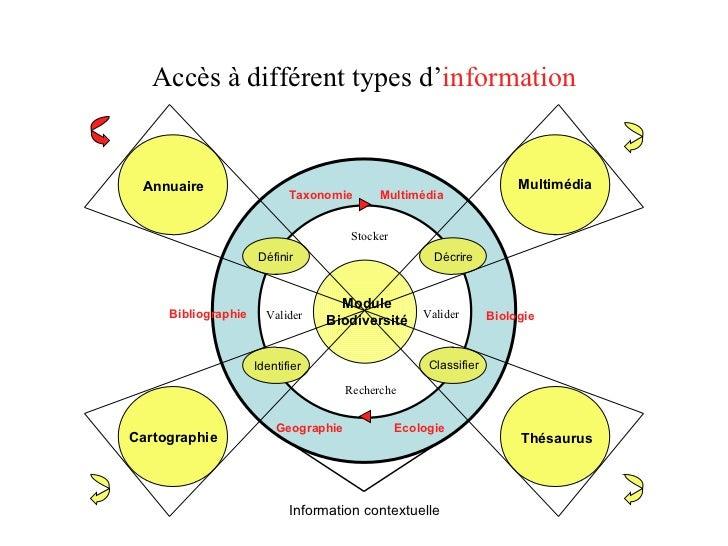 Accès à différent types d ' information Annuaire Définir Information contextuelle Ecologie Geographie Multimédia Bibliogra...