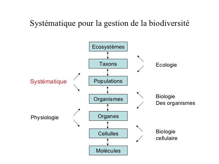 Systématique pour la gestion de la biodiversité Molécules Cellulles Systématique Physiologie Ecologie Biologie Des organis...