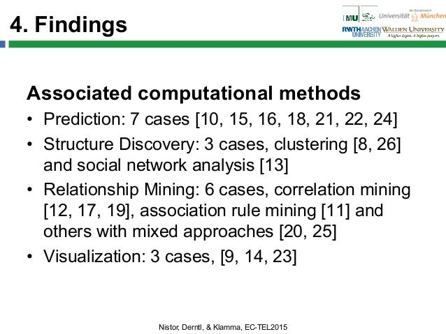 4. Findings Associated computational methods • Prediction: 7 cases [10, 15, 16, 18, 21, 22, 24] • Structure Discovery: 3...