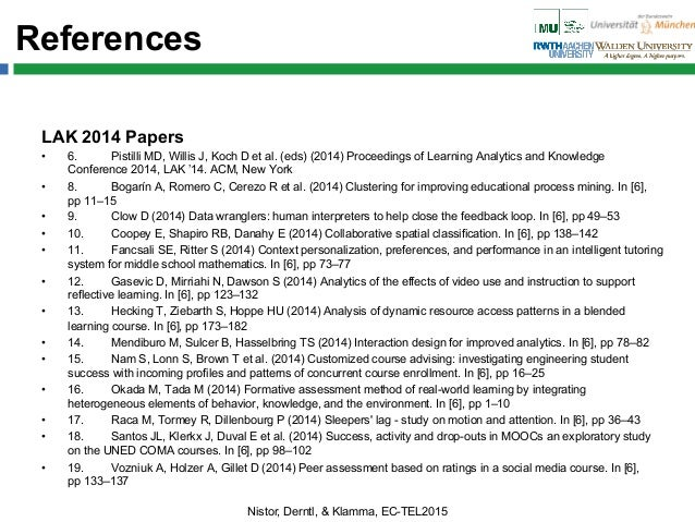 References LAK 2014 Papers • 6. Pistilli MD, Willis J, Koch D et al. (eds) (2014) Proceedings of Learning Analytics and K...