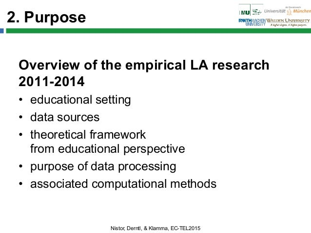 2. Purpose Overview of the empirical LA research 2011-2014 • educational setting • data sources • theoretical framework...