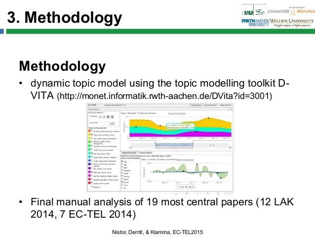 3. Methodology Methodology • dynamic topic model using the topic modelling toolkit D- VITA (http://monet.informatik.rwth-...