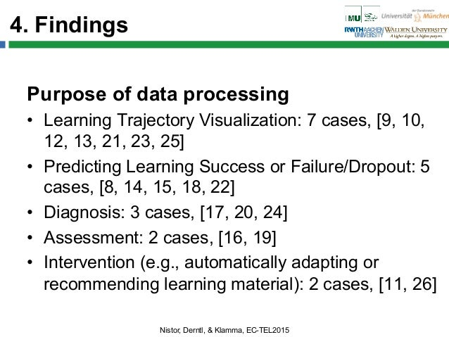 4. Findings Purpose of data processing • Learning Trajectory Visualization: 7 cases, [9, 10, 12, 13, 21, 23, 25] • Predi...