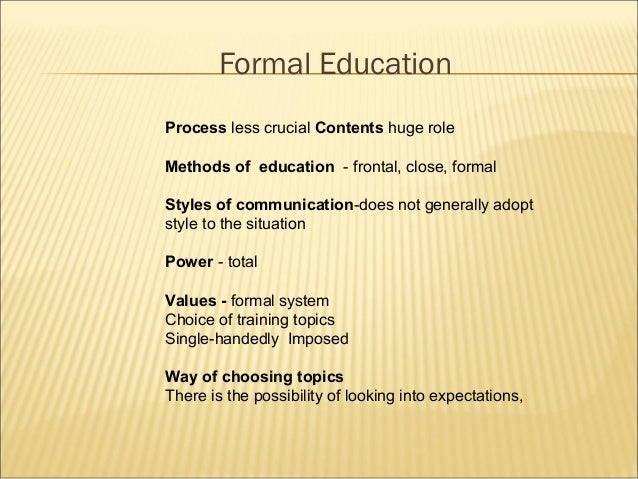The roles of non formal education