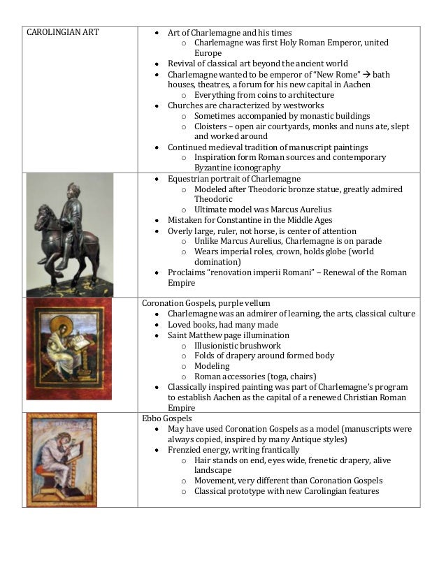 CAROLINGIAN ART          Art of Charlemagne and his times                             o Charlemagne was first Holy Roman E...