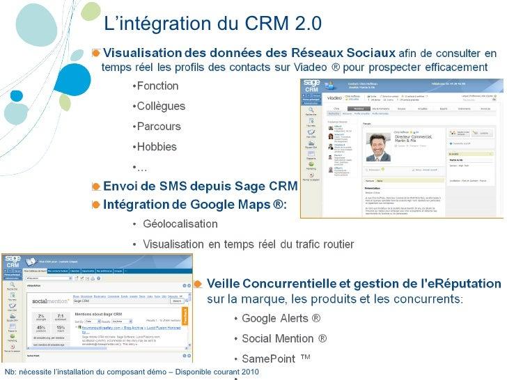 L'intégration du CRM 2.0 Nb: nécessite l'installation du composant démo – Disponible courant 2010