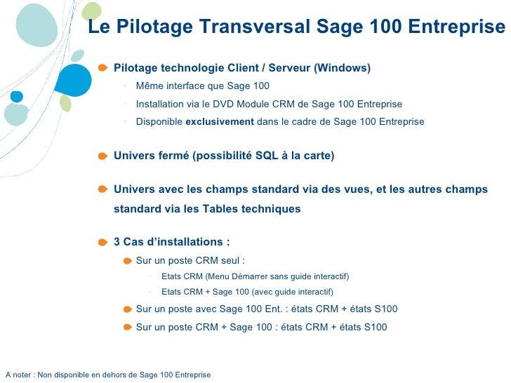 Le Pilotage Transversal Sage 100 Entreprise <ul><ul><li>Pilotage technologie Client / Serveur (Windows) </li></ul></ul><ul...