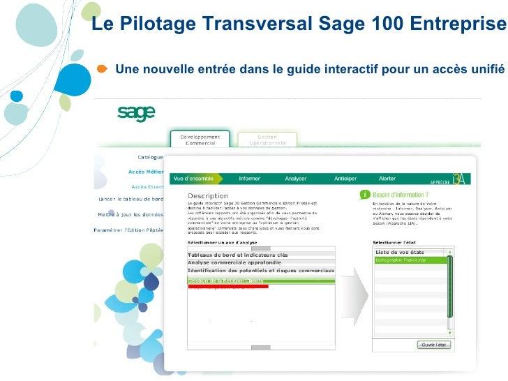 Le Pilotage Transversal Sage 100 Entreprise <ul><li>Une nouvelle entrée dans le guide interactif pour un accès unifié  </l...