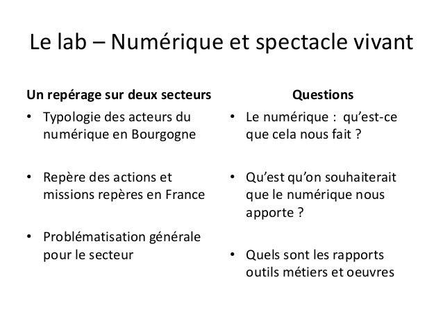 Le lab – Numérique et spectacle vivant Un repérage sur deux secteurs • Typologie des acteurs du numérique en Bourgogne • R...
