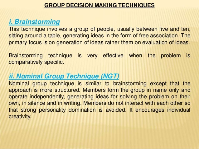 goup decision making essay Group decision making first and last name of student course number and course name first and last name of instructor october 14, 2011 purpose of group decision.