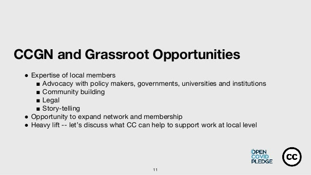 11 CCGN and Grassroot Opportunities ● Expertise of local members ■ Advocacy with policy makers, governments, universities ...