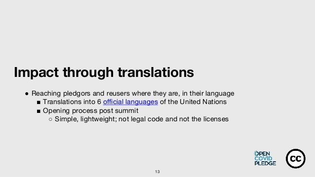 13 Impact through translations ● Reaching pledgors and reusers where they are, in their language ■ Translations into 6 off...