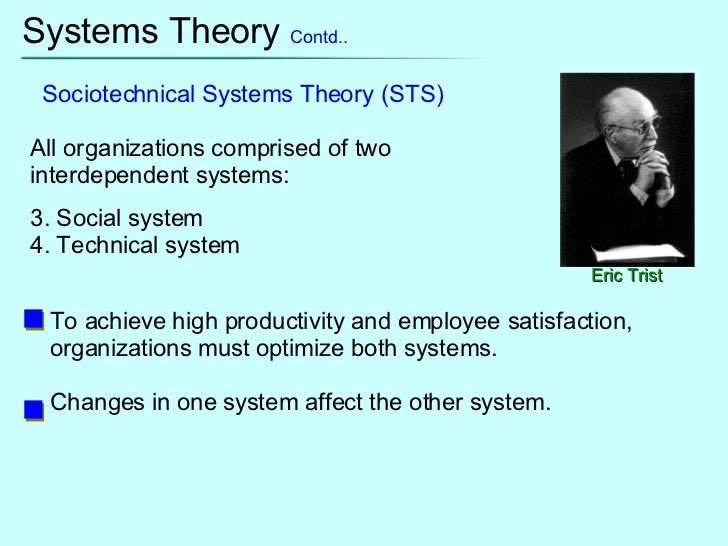 Systems Theory  Contd.. Eric Trist Sociotechnical Systems Theory (STS) <ul><li>All organizations comprised of two interdep...