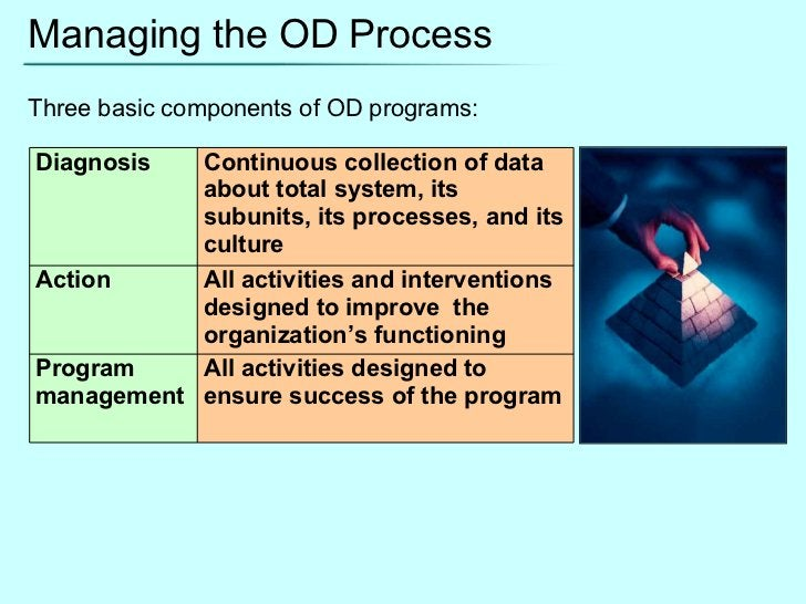 Managing the OD Process Three basic components of OD programs: Diagnosis Continuous collection of data about total system,...