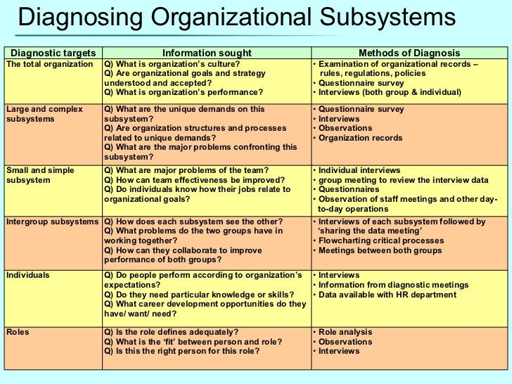 Diagnosing Organizational Subsystems Diagnostic targets Information sought Methods of Diagnosis The total organization Q) ...