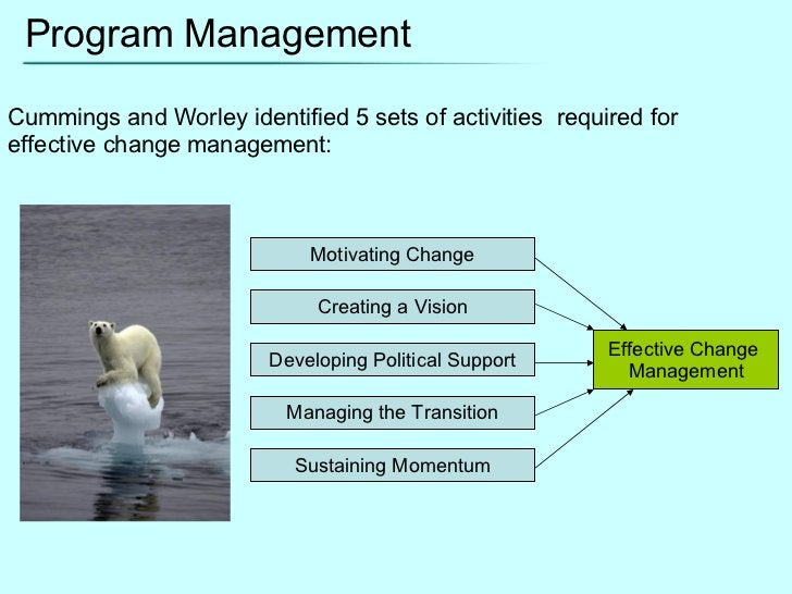 Program Management Cummings and Worley identified 5 sets of activities  required for effective change management: Motivati...