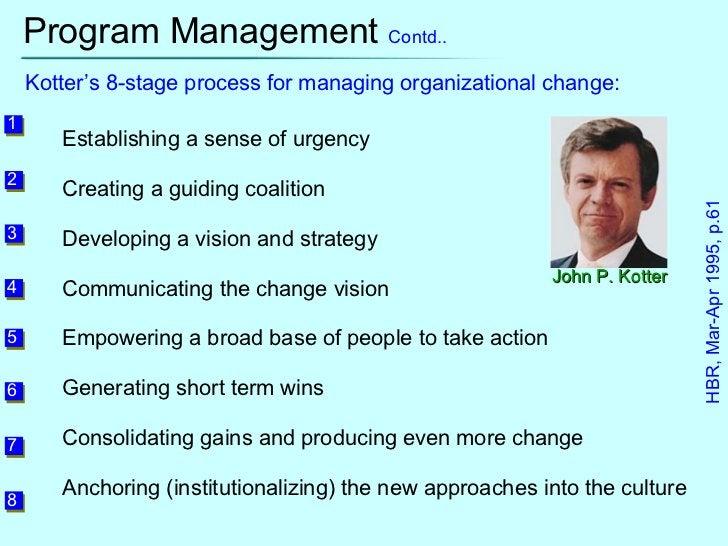 Program Management  Contd.. John P. Kotter Kotter's 8-stage process for managing organizational change: Establishing a sen...
