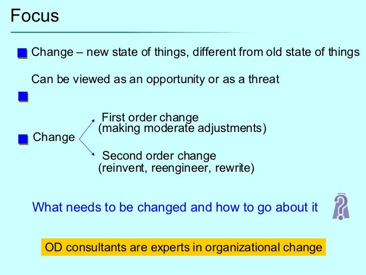 Focus Change – new state of things, different from old state of things Can be viewed as an opportunity or as a threat Chan...