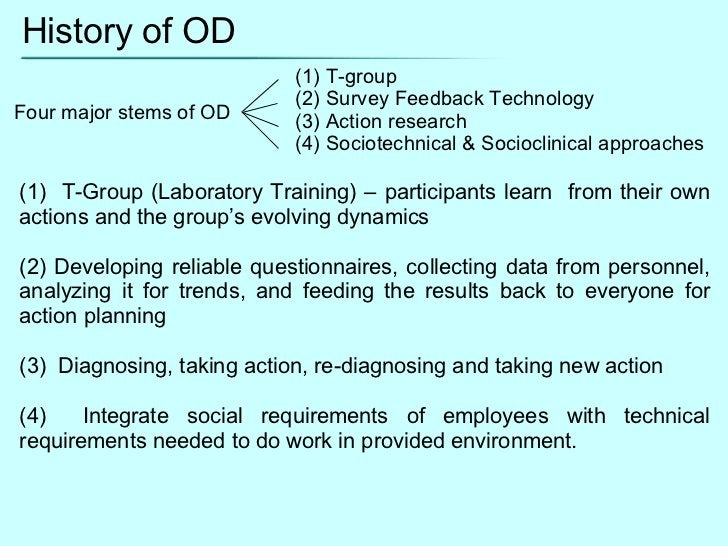 History of OD Four major stems of OD (1) T-group  (2) Survey Feedback Technology (3) Action research (4) Sociotechnical & ...
