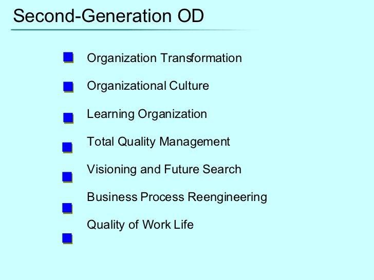 Second-Generation OD Organization Transformation Organizational Culture Learning Organization Total Quality Management Vis...