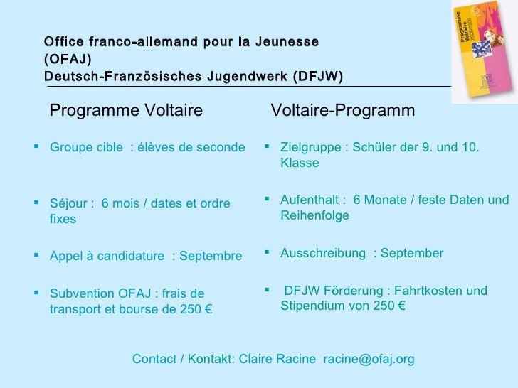 Pr sentation ofaj pr sentation dfjw - Office franco allemand pour la jeunesse ...