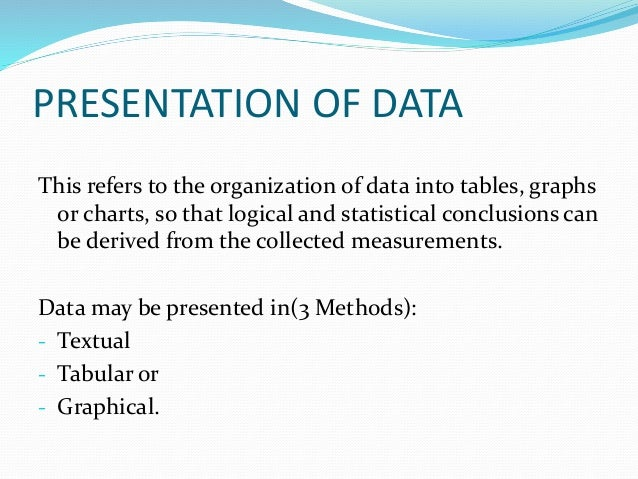 Presentation of data.