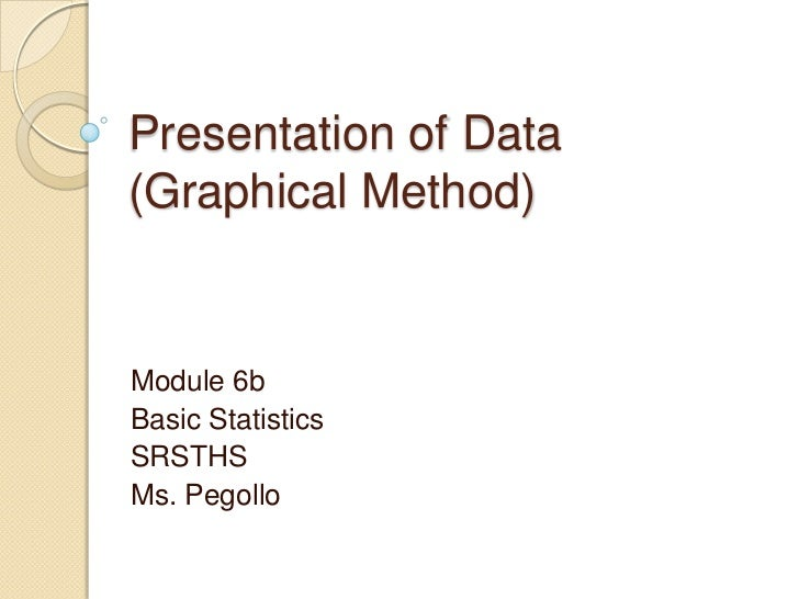 Presentation of Data(Graphical Method)Module 6bBasic StatisticsSRSTHSMs. Pegollo