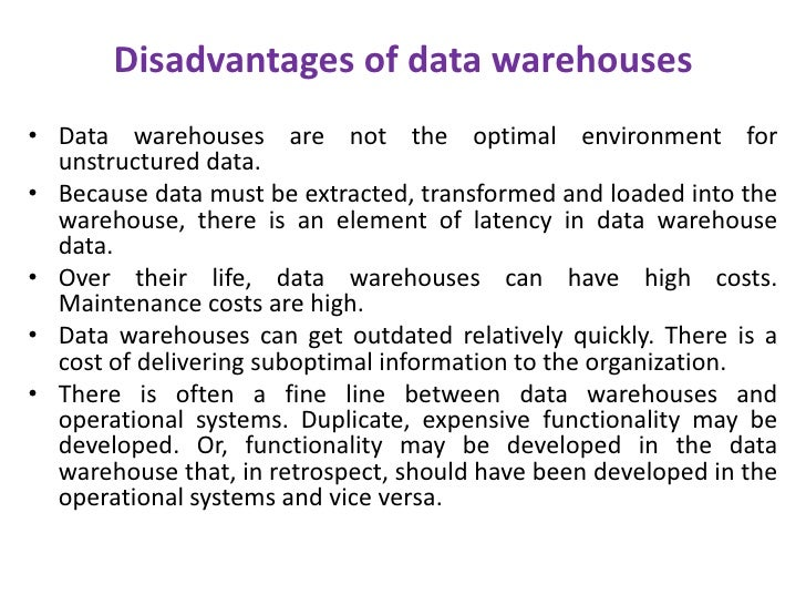 data warehouse essay A data warehouse is a database which is specially designed to question and analyze the previous data rather than the transactional data most of the data warehouses store historical data as opposed to the current transactional data.