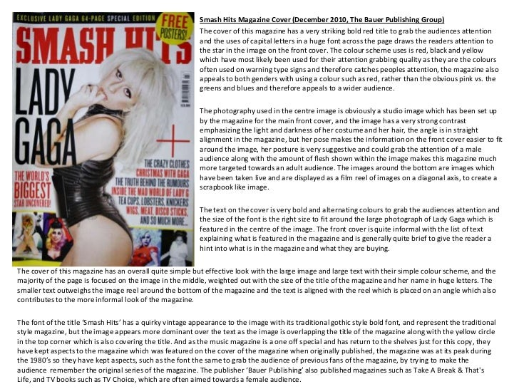 Smash Hits Magazine Cover (December 2010, The Bauer Publishing Group)                                                     ...