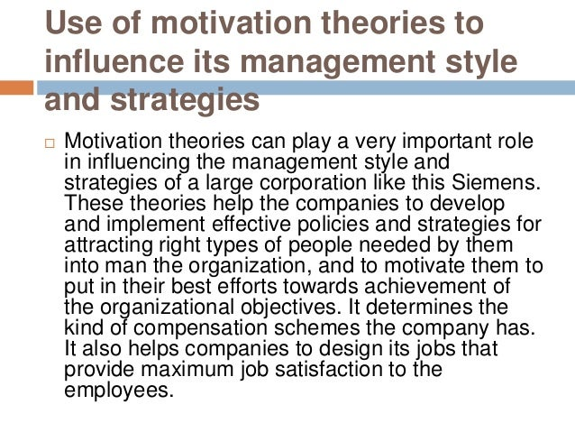 M2 compare the use of motivation theories in an organisation