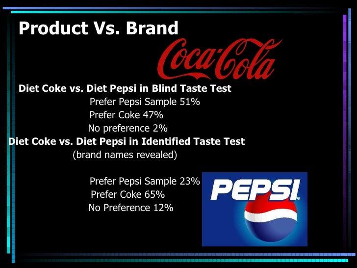 Product Vs. Brand Diet Coke vs. Diet Pepsi in Blind Taste Test Prefer Pepsi Sample 51% Prefer Coke 47% No preference 2% Di...
