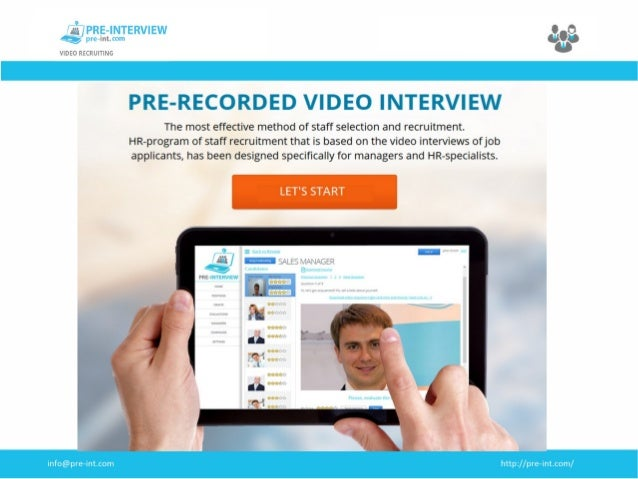 Pre-recorded video interview. Job interview platform Pre-Interview
