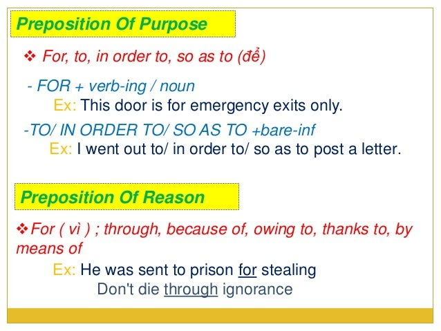 Presentation of prepositions