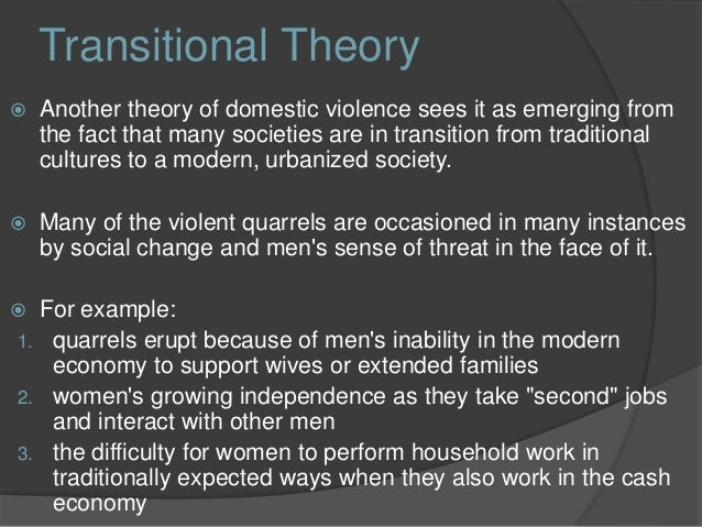 domestic violence and attribution theory Violence against women is one  domestic violence was  stress and a closed social network increase the risk of partner violence, while the gender theory is.