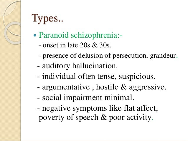 paranoid schizophrenia When you bring up the general topic of schizophrenia to those who aren't very familiar with the illness you can almost guarantee yourself that they are thinking.