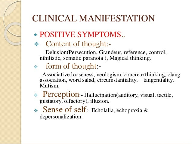 Presentation of schizophrenia as in a simple way