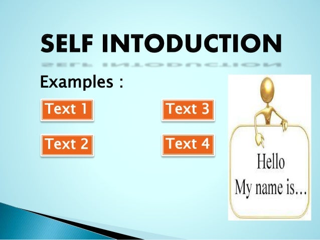 Presentation of self introduction