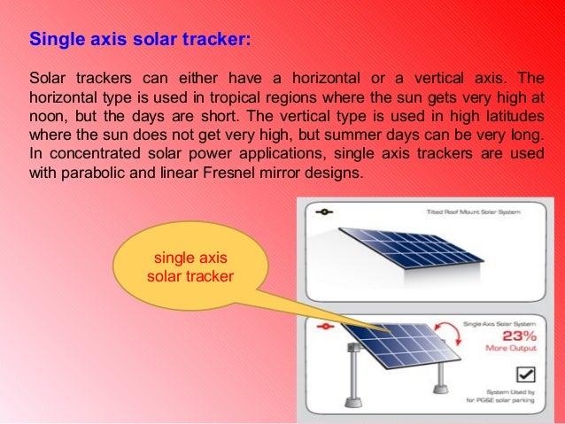 Presentation of single axis solar tracker