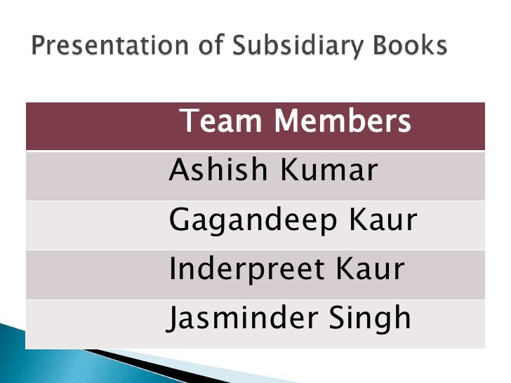 Presentation of Subsidiary Books  <br />