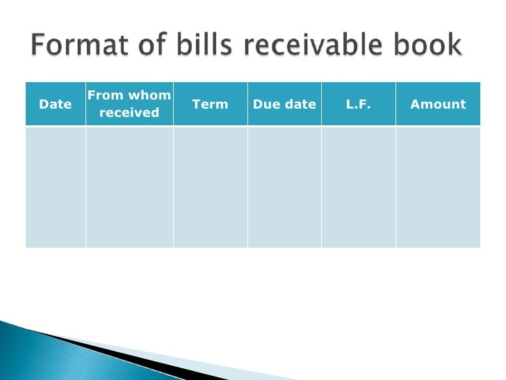 Presentation of subsidiary books – Bill Receivables
