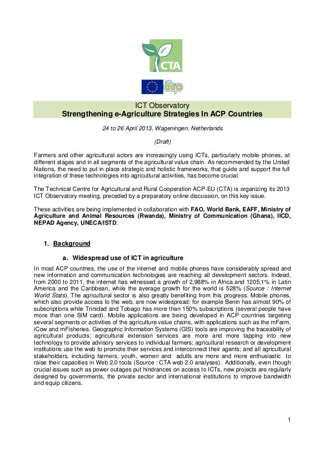 1ICT ObservatoryStrengthening e-Agriculture Strategies In ACP Countries24 to 26 April 2013, Wageningen, Netherlands(Draft)...