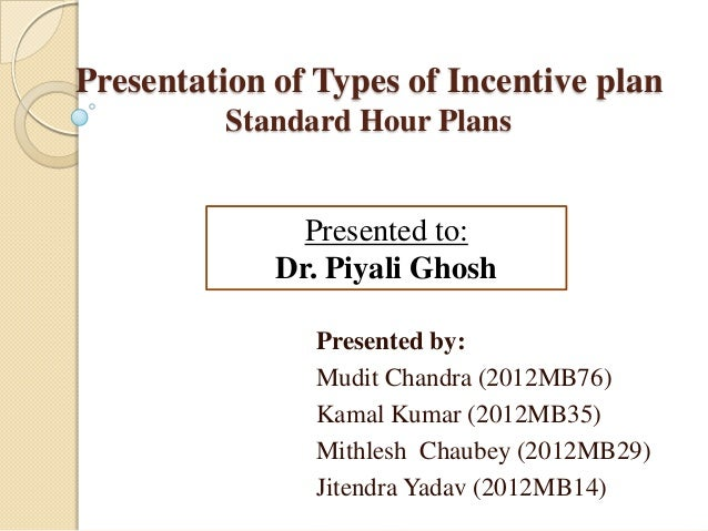 Presentation of Types of Incentive plan Standard Hour Plans  Presented to: Dr. Piyali Ghosh Presented by: Mudit Chandra (2...