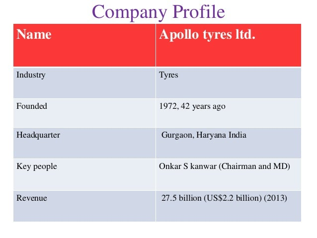 "apollo tyres limited Apollo tyres limited (the ""company""), with corporate identity number l25111kl1972plc002449, was incorporated on september 28, 1972 under the laws of the republic of india as a public company with limited liability, with a certificate of incorporation granted by the."